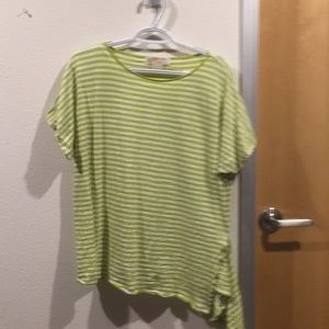 Michael Kors lime green & white striped t-shirt